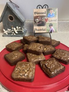 Brownies on red tray