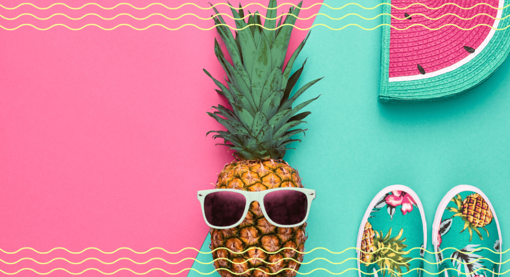summer color graphic with watermelon, pineapple, sunglasses, and shoes