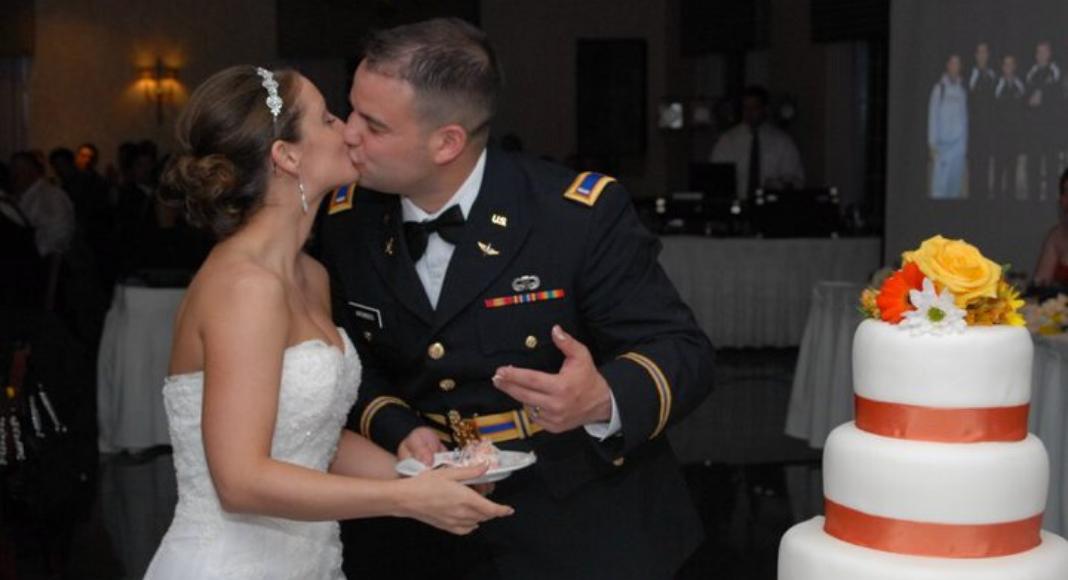 military couple on wedding day
