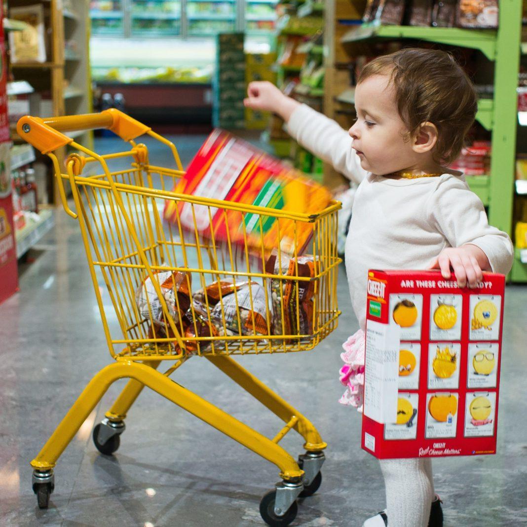 little girl shopping