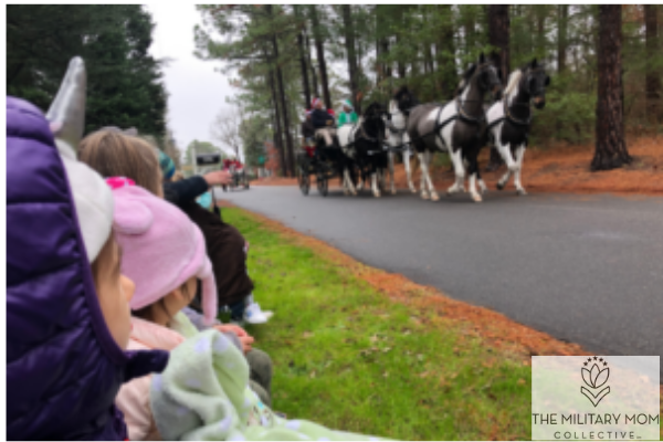 kids watching a horse drawn carriage