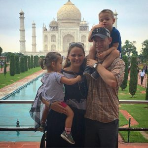 family in front of the Taj Mahal