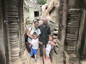 family exploring Cambodia