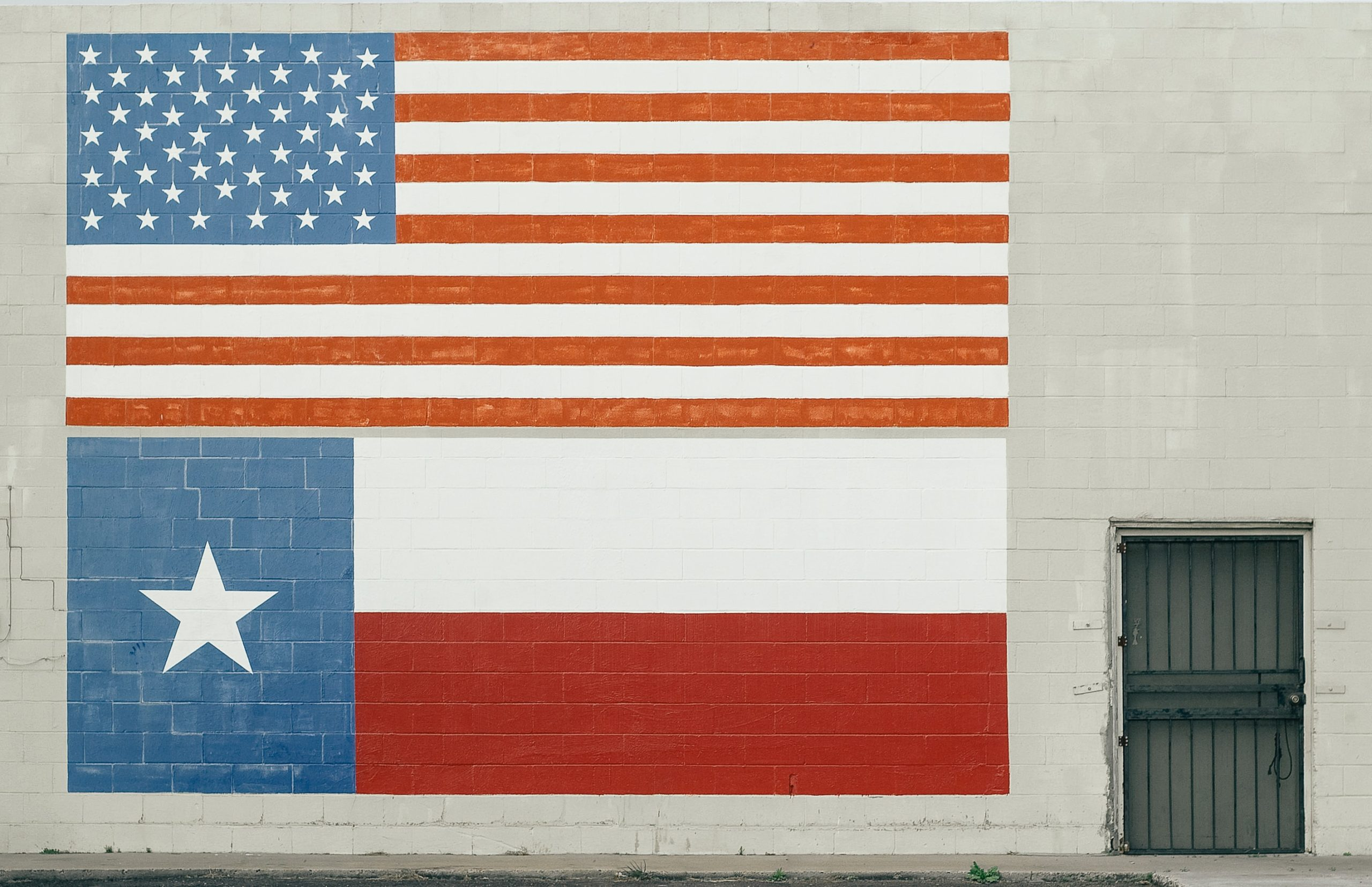 American and Texan flags