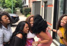 group of friends laughing