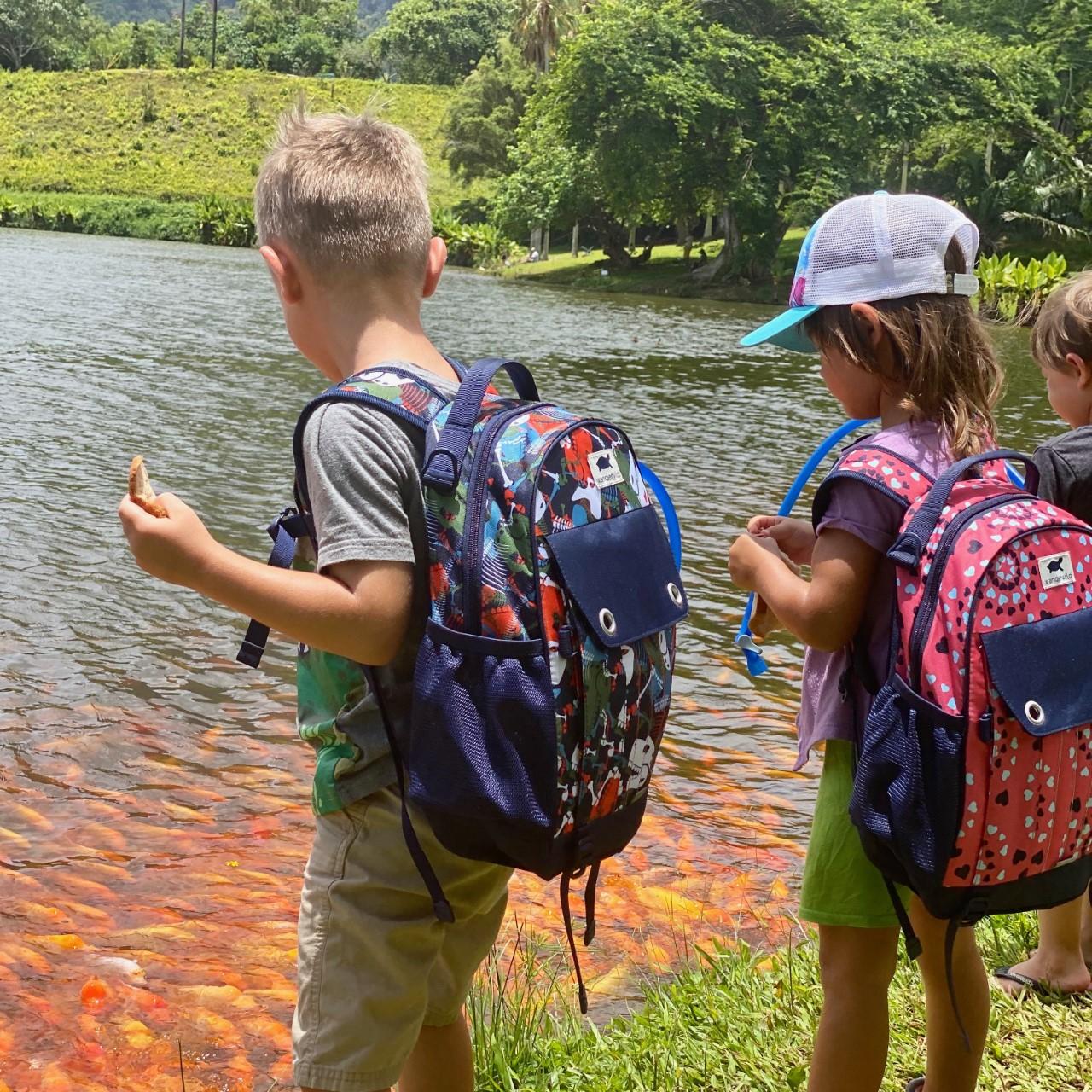 kids wearing Wanderwild backpacks