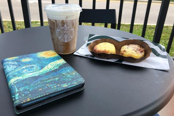 coffee, snack and e-book for a break