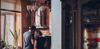 couple cooking in their kitchen