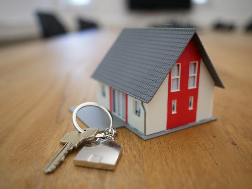 tiny house keychain with key