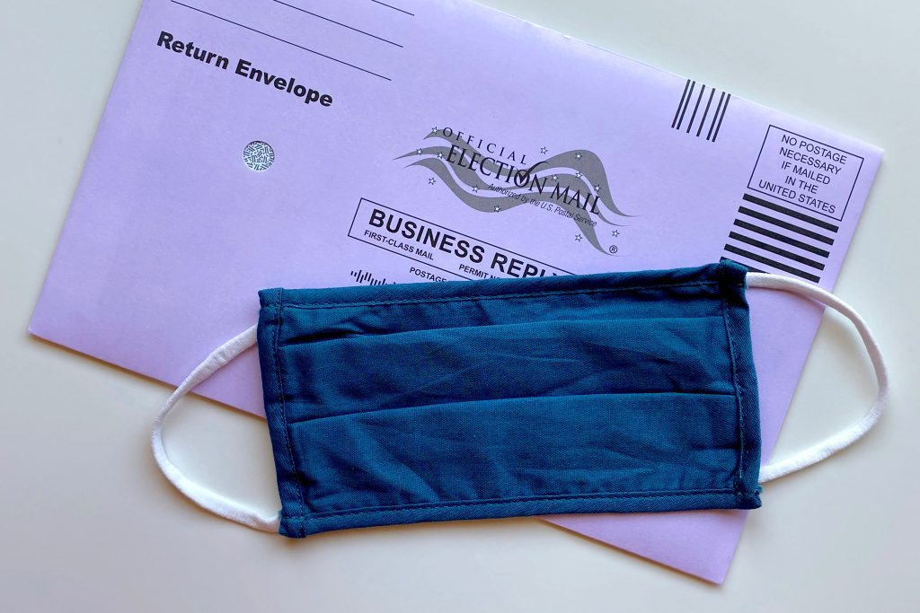 election ballot with mask