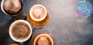 beer in glasses on granite