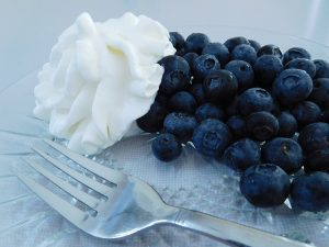 blueberries and whipped cream