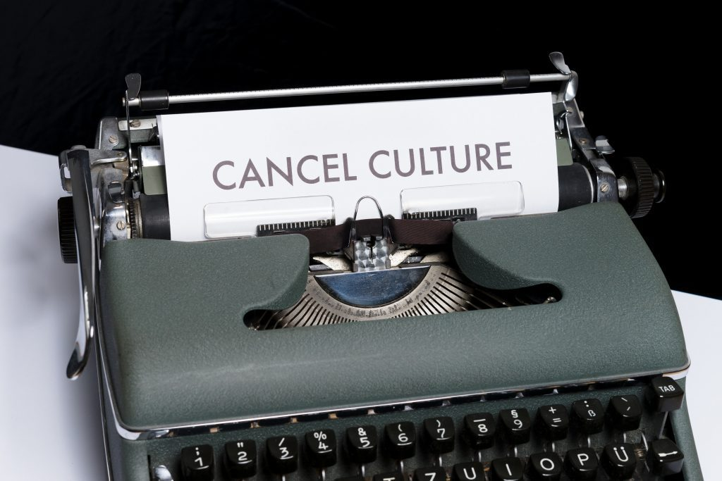 typewriter with cancel culture