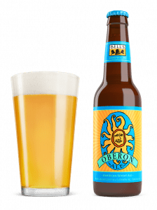 Oberon beer glass and bottle