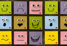 range of emotions on post-its