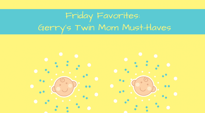 Friday Favorites Twin Mom with twin babies on yellow background
