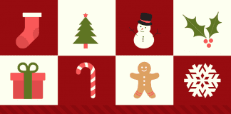 holiday decor and elements on red background