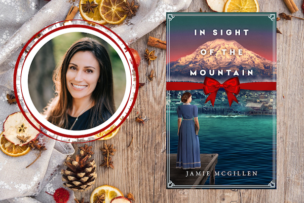 In the Sight of the Mountain book with author picture on a table with christmas decor