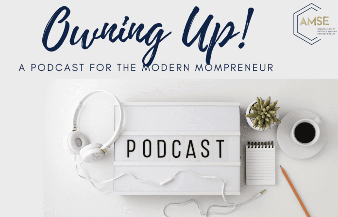 Owning Up! Podcast with headphones coffee and notepad