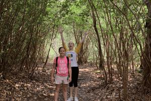 two girls hiking outside