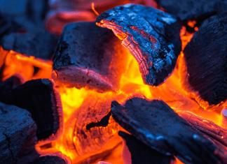 smoldering charcoal briquets