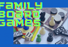 family board games with various game pieces