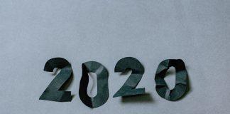 2020 on crinkled paper