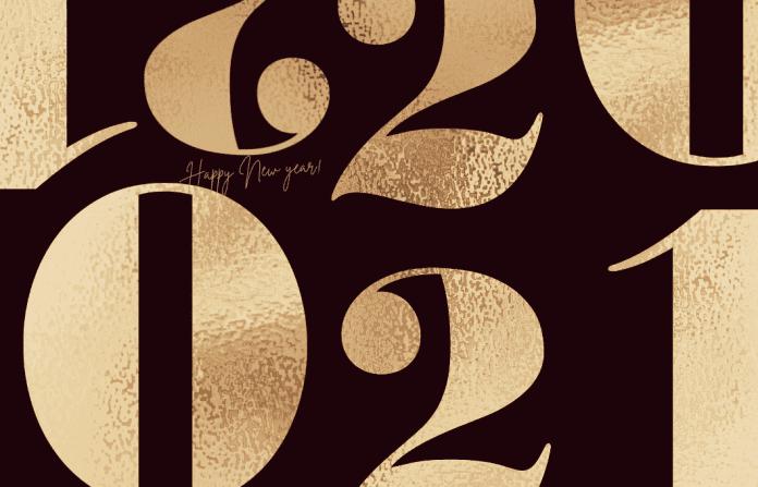 gold 2021 on black background