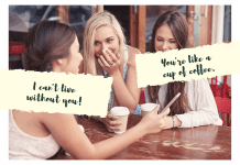 Best Friends laughing over coffee