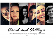 "many young adult faces on white background with ""Covid and College: This Mom's Perspective of a Challenging Freshman Year"""