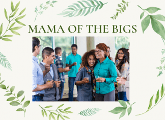 """Cream background with different leaves, with """"Mama of the Bigs"""" in type and a picture of mother with teens"""