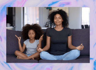 mother and child practicing mindfulness