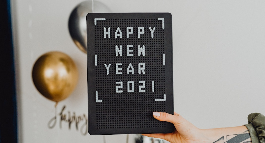 happy new year 2021 on letter board
