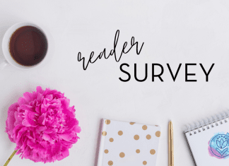 """A cup of coffee and notebooks on the table with text: """"reader survey"""""""