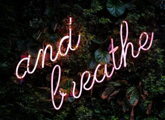and breathe neon sign on greenery