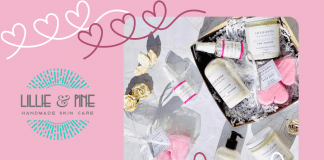 Lillie +Pine Valentine's products on pink background