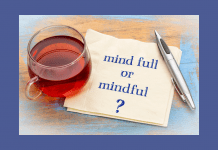 tea with a napkin with mind full or mindful