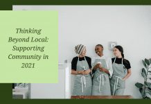 women in aprons laughing with thinking beyond local: supporting community in 2021 text