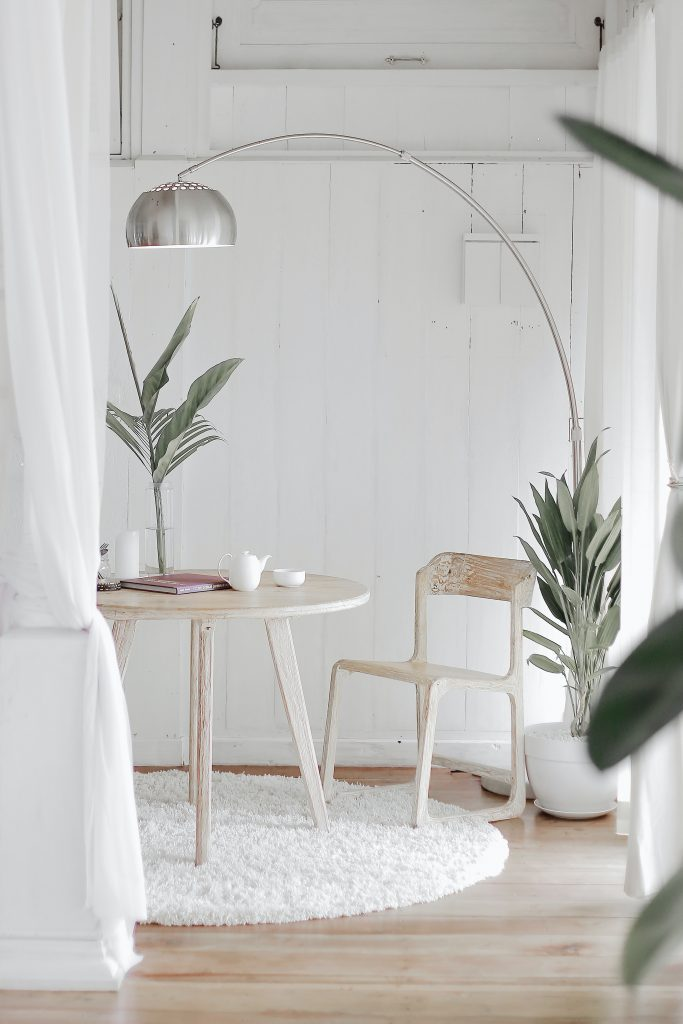minimalist office with green plants