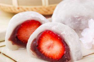 ichigo daifuku or strawberry read bean mochi