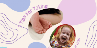 """multicolor whimsical background with picture of baby feet and little girl with """"7 Tips for Taking Better Photos of your Kids"""" in text"""