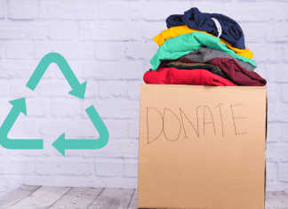 white chalk background with donation box of clothes and recycle symbol