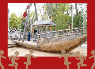 Picture of boat at Gathering Place Tulsa on red background with graphics of children playing