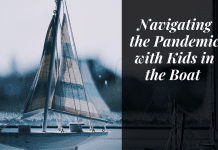 "Boat on the water with ""Navigating the pandemic with kids in the boat"" in quotes"