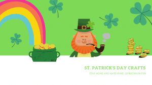 St. Patrick's Day Crafts image with leprechaun and rainbow with a pot of gold