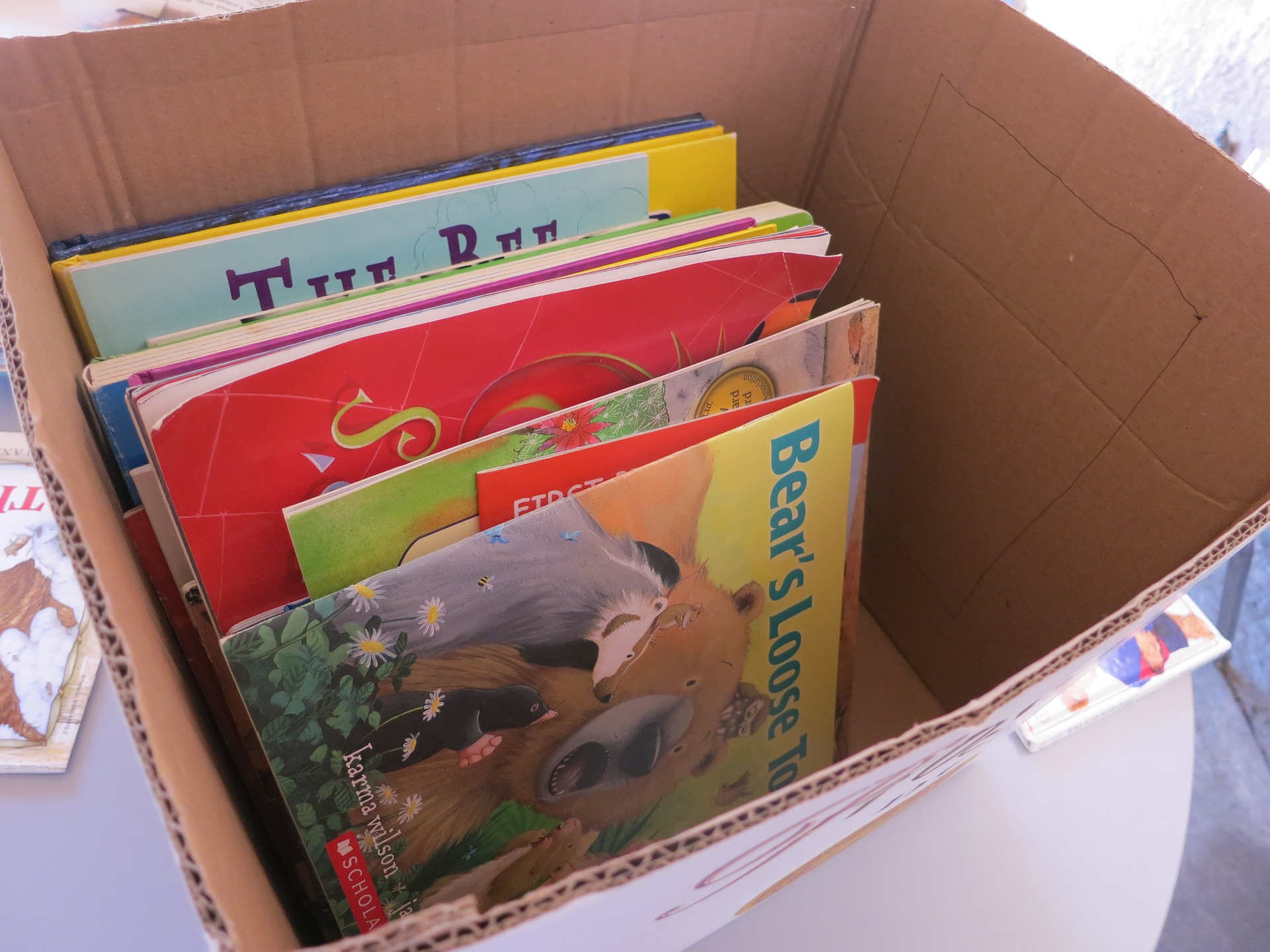 box with used books