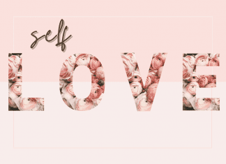 """pink graphic with """"self love"""" in brown and rose lettering"""