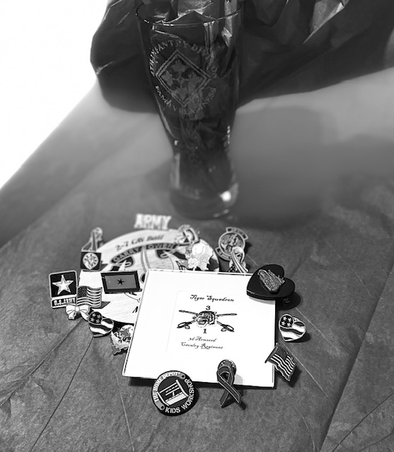 pins and medals in black and white