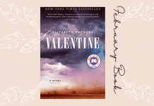 February book club Valentine by Elizabeth Wetmore on a blush background with white leaves