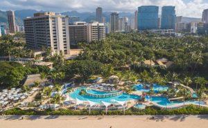 aerial view of the Hale Koa resort in Waikiki